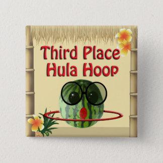 Tropische Party Tiki Hütten-3. Platz Hula Band Quadratischer Button 5,1 Cm