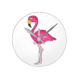 Tropische rosa Flamingo-Flamingo-Vogel-Vogel-Uhr Runde Wanduhr