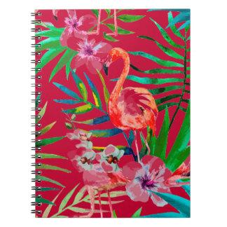 Tropische rosa Flamingokunst Spiral Notizblock