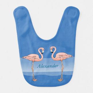 Tropische rosa Flamingos am Strand-Baby-Blau Lätzchen