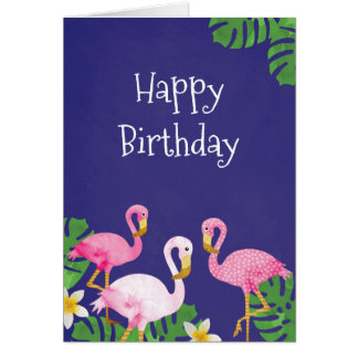 Tropische rosa Flamingos auf Lila Grußkarte