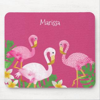 Tropische rosa Flamingos auf Rosa Mousepad
