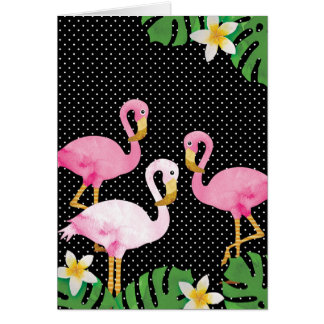 Tropische rosa Flamingos auf Tupfen Grußkarte