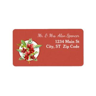 Tropische rote Orchideen-Aquarell-Hochzeit Adressaufkleber