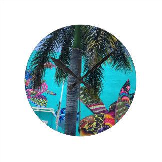 Tropische Schildkröte, Palmeparadies Runde Wanduhr