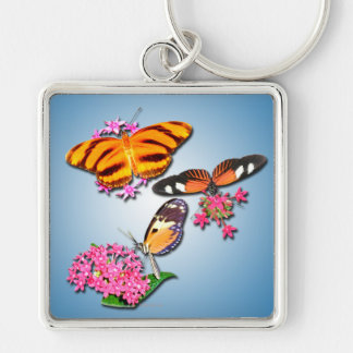 Tropische Schmetterlinge Silberfarbener Quadratischer Schlüsselanhänger