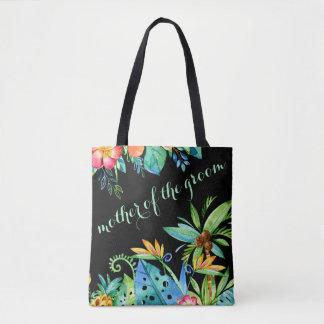 Tropische schwarze mit Blumenmutter des Bräutigams Tasche