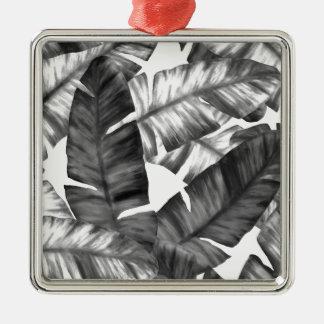 Tropische Schwarzweiss-Banane verlässt Muster Silbernes Ornament