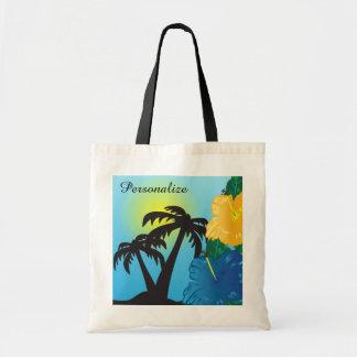 Tropische Sonnenaufgang-Strand-Tasche Tragetasche