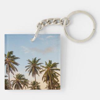 Tropische SonnenuntergangPalmen in der Vintagen Schlüsselanhänger