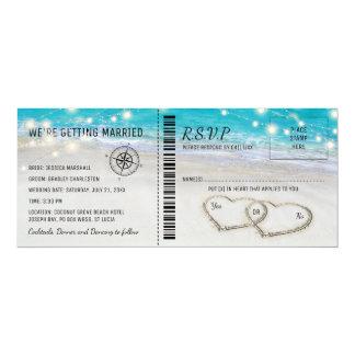 Tropische Strand-Herz-Hochzeits-Karte mit UAWG Karte