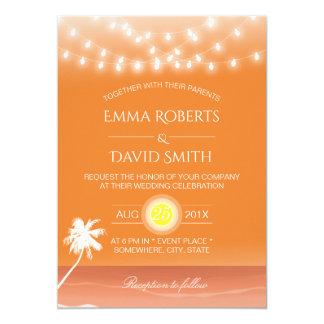 Tropische Strand-Hochzeits-Schnur-Lichter u. Palme 12,7 X 17,8 Cm Einladungskarte