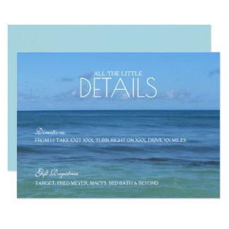Tropische Strand-Hochzeitsdetails/Empfang KARTE 8,9 X 12,7 Cm Einladungskarte
