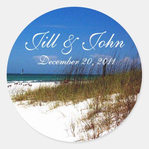 Tropische Strand-Namen und Datums-Hochzeits-Aufkle
