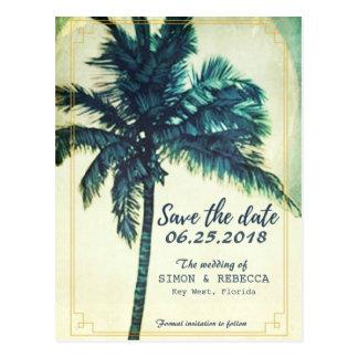 Tropische Strand-Palme Key West Save the Date Postkarte