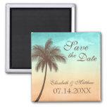 Tropische Strand-Palme Save the Date Quadratischer Magnet