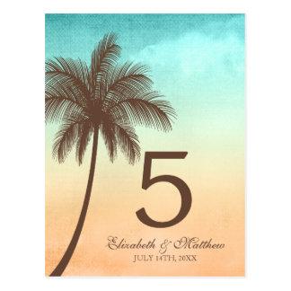 Tropische Strand-Palme-Wedding Tischnummer Postkarte