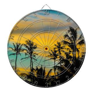 Tropische Szene zur Sonnenuntergang-Zeit Dartscheibe