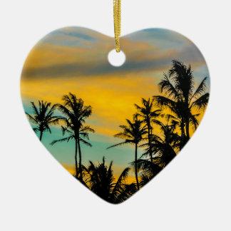Tropische Szene zur Sonnenuntergang-Zeit Keramik Ornament