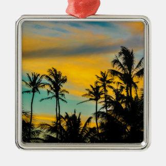 Tropische Szene zur Sonnenuntergang-Zeit Silbernes Ornament
