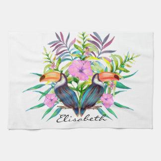 Tropische tucan Vögel und rosa Blumen Geschirrtuch