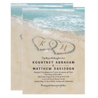 Tropische Vintage Strand-Herz-Ufer-Hochzeit 12,7 X 17,8 Cm Einladungskarte