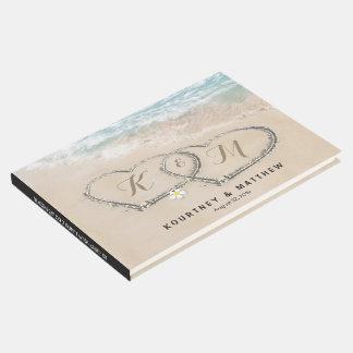 Tropische Vintage Strand-Herz-Ufer-Hochzeit Gästebuch