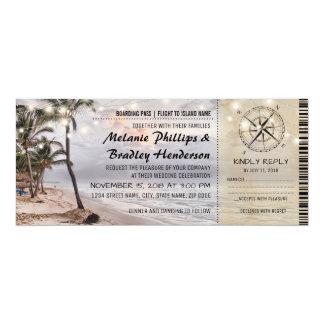 Tropische Vintage Strand-Hochzeits-Karten mit UAWG 10,2 X 23,5 Cm Einladungskarte