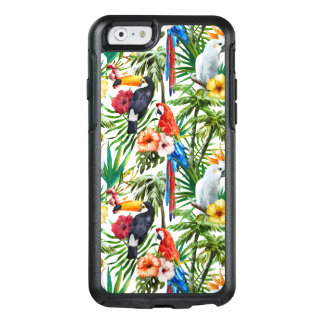 Tropische Vögel des Aquarells und Laubmuster OtterBox iPhone 6/6s Hülle