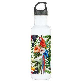 Tropische Vögel des Aquarells und Laubmuster Trinkflasche