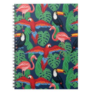 Tropische Vögel in den hellen Farben Notizblock