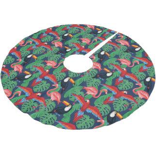Tropische Vögel in den hellen Farben Polyester Weihnachtsbaumdecke