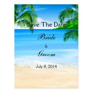 Tropische Wasser-Strand-Hochzeit Save the Date Postkarte