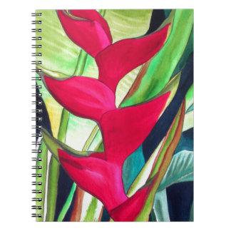 Tropische Wasserfarbe-Blume des Heliconia Notizblock
