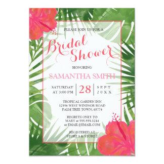 Tropische Watercolor-Brautparty-Einladung Karte