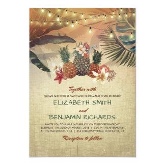 Tropische Wedding Strand-Palmen und Ananas Karte