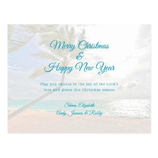 Tropische Weihnachtsneues Jahr-christliche Postkarte