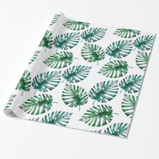 Tropischer Aloha Monstera verlässt Muster Geschenkpapier
