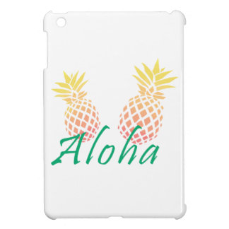 "tropischer ""aloha"" Text des Sommers, bunte Ananas iPad Mini Hülle"