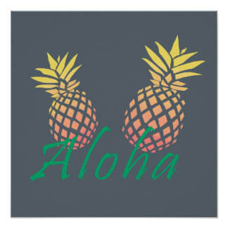 """tropischer """"aloha"""" Text des Sommers, bunte Ananas Poster"""