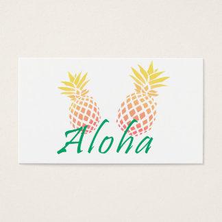 "tropischer ""aloha"" Text des Sommers, bunte Ananas Visitenkarte"