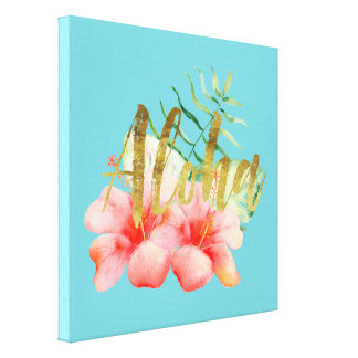 Tropischer Blätter-HibiskusblumenWatercolor Aloha Leinwanddruck