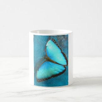 Tropischer blauer Schmetterling Kaffeetasse