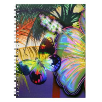 Tropischer Blumen-Schmetterling Notizblock