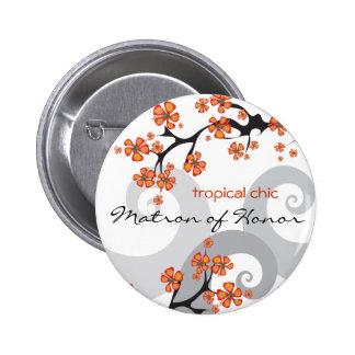 Tropischer Blumen-Strudel-Hochzeits-Namen-Umbau/Kn Button