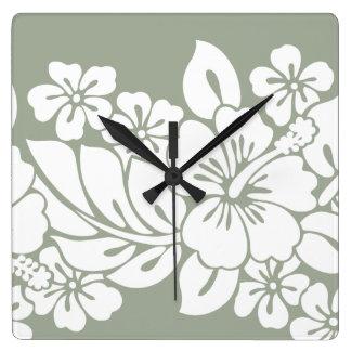 Tropischer BlumenHibiskus-Entwurf Quadratische Wanduhr