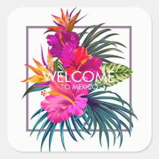 Tropischer Blumenstrauß-Willkommens-Aufkleber Quadratischer Aufkleber