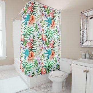 Tropischer Flamingo-Hibiskus-Duschvorhang Duschvorhang