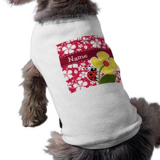 Tropischer Fuschia Hibiskus; Marienkäfer T-Shirt
