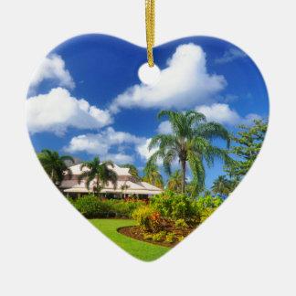 Tropischer Garten Keramik Herz-Ornament